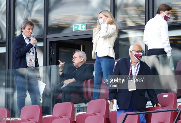 David Sullivan, Chairman of West Ham United is seen in the stands prior to the Premier League match between West Ham United and Wolverhampton...