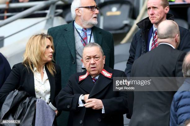 David Sullivan owner of West Ham looks on from the stands during the Premier League match between Hull City and West Ham United at KCOM Stadium on...