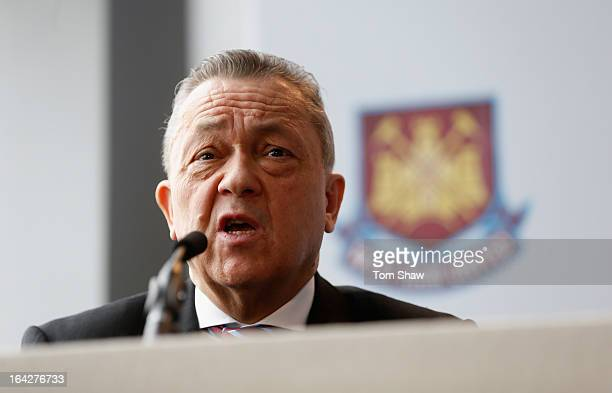 David Sullivan the co owner of West Ham talks to the press during the press conference to announce the future of the Olympic Stadium on March 22,...