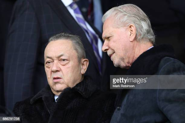David Sullivan West Ham owner and David Gold West Ham chairman look on during the Premier League match between Burnley and West Ham United at Turf...