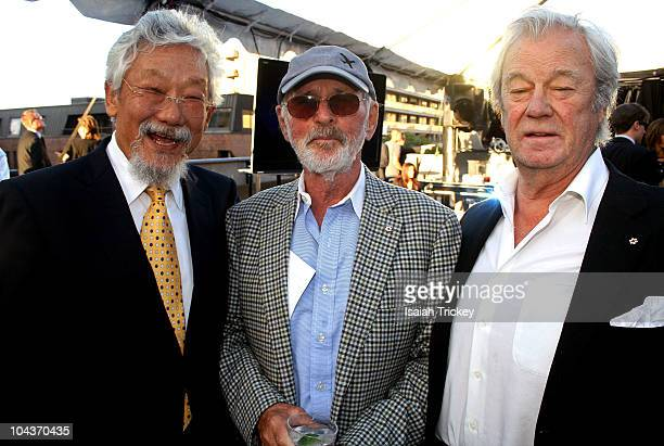 David Suzuki, Norman Jewison and Gordon Pinsent at City Park Rooftop on September 13, 2010 in Toronto, Canada.