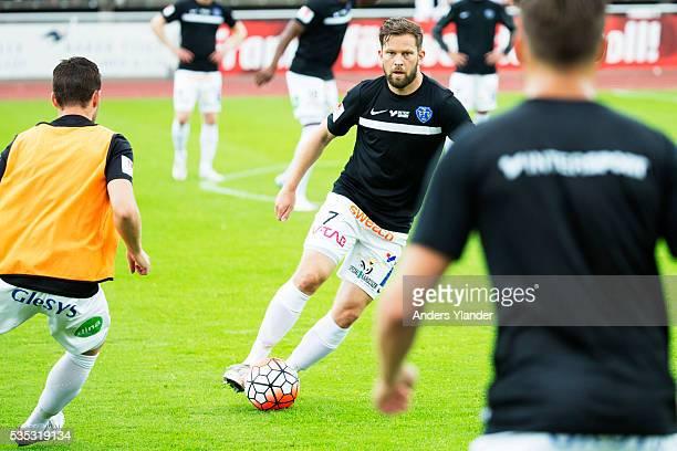 David Svensson of Falkenberg FF warmsup prior the Allsvenskan match between Falkenbergs FF andKalmar FF at Falkenbergs IP on May 29 2016 in...