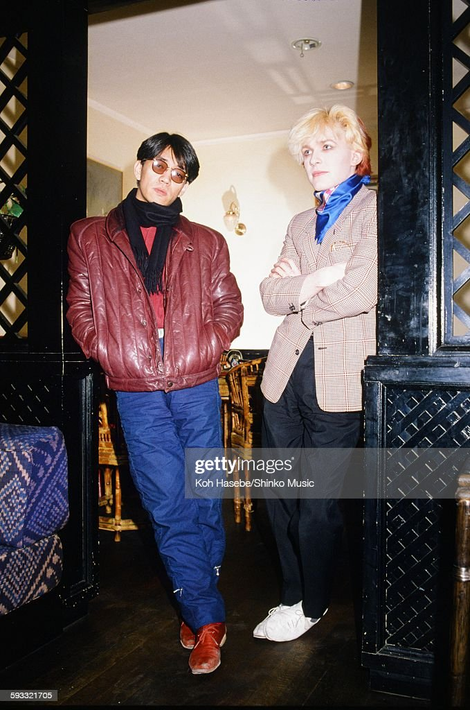 David Sylvian Japan And Ryuichi Sakamoto Getting Interviewed At A Hotel : News Photo