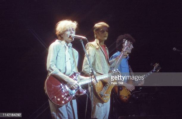 David Sylvian Mick Karn and Rob Dean of Japan perform on stage at Hammmersmith Odeon on May 17th 1981 in London England