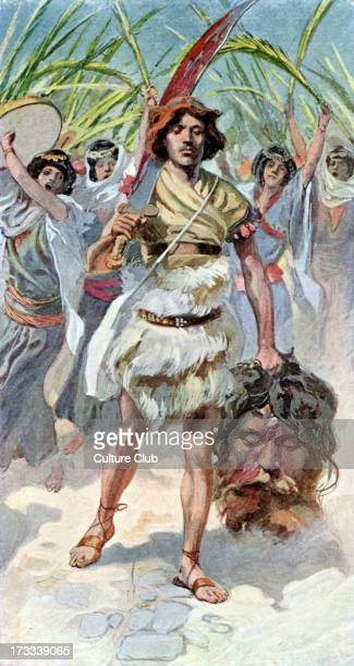 David takes the head of Goliath to Jerusalem by J James Tissot Illustration to book of Samuel 1654 'And David took the head of the Philistine and...