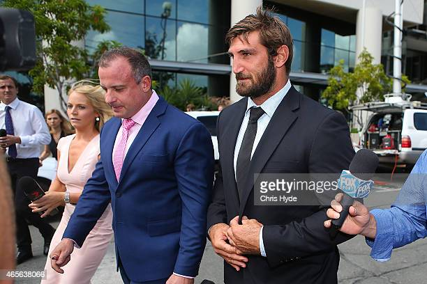 David Taylor leaves Southport Magistrates Court on March 9 2015 in Gold Coast Australia Gold Coast Titans NRL players have been served with a Notice...