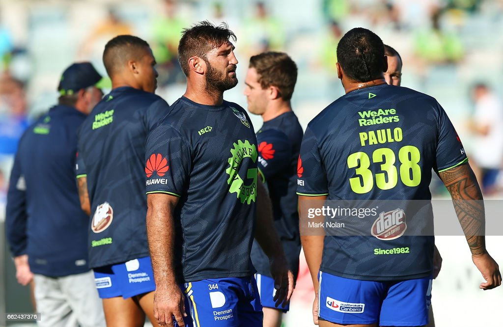 David Taylor of the Raiders warms up before the round five NRL match between the Canberra Raiders and the Parramatta Eels at GIO Stadium on April 1, 2017 in Canberra, Australia.