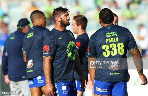 David Taylor of the Raiders warms up before the round five NRL match between the Canberra Raiders and the Parramatta Eels at GIO Stadium on April 1...