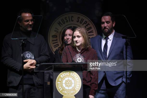David Taylor Peymon Maskan Josh Marcy and Jessie F Kalikow winners of Best Music Supervision in Advertising speak onstage during the 9th Annual Guild...