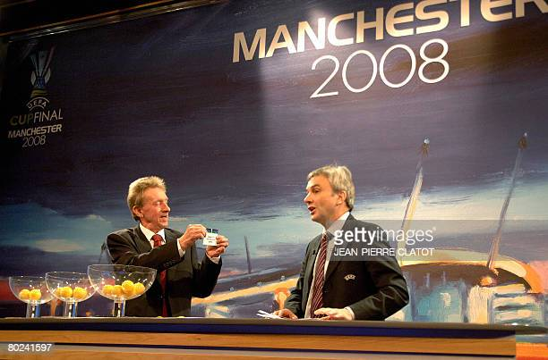 David Taylor UEFA general secretary of the UEFA competition committee and Denis Law former footballer and European footballer of the year in 1964 are...