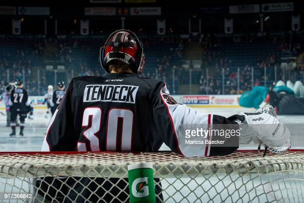 David Tendeck of the Vancouver Giants stands in net at the start of the game against the Kelowna Rockets at Prospera Place on February 7 2018 in...