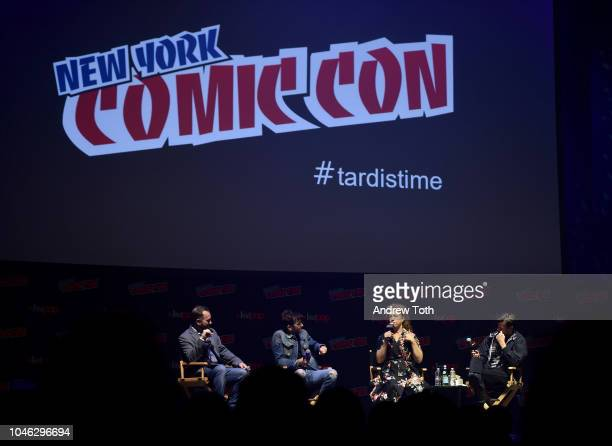 David Tennant Alex Kingston and Matt Smith speak onstage at the Tardis Time panel during New York Comic Con 2018 at Hammerstein Ballroom on October 5...