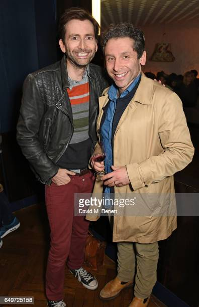 David Tennant and Elliot Levey attend the press night after party for The Donmar's production of 'Limehouse' at The Hospital Club on March 8 2017 in...