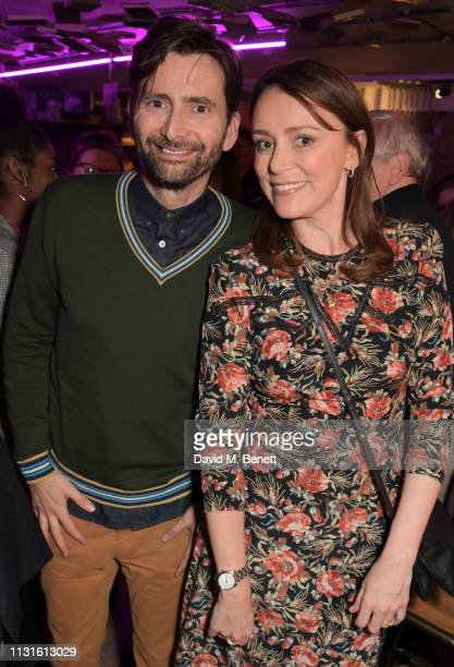 David Tennant and Keeley Hawes attend the press night after party for 'The Life I Lead' at The Park Theatre on March 19 2019 in London England