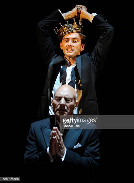 David Tennant and Patrick Stewart perform in the Royal Shakespeare's production of William Shakespeare's play Hamlet directed by Gregory Doran at the...