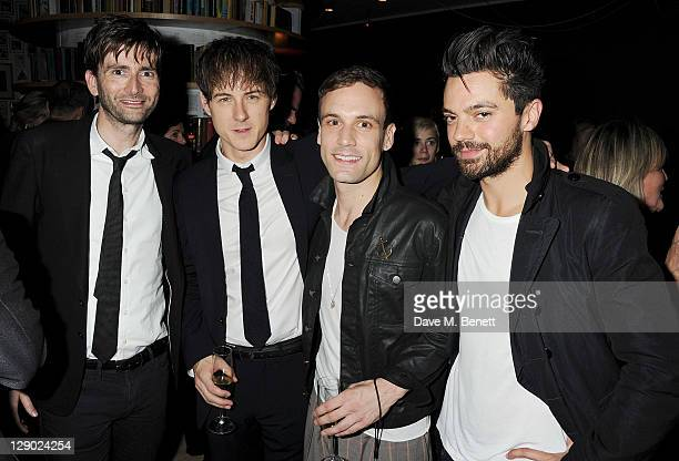 David Tennant Andrew Knott Nick Blood and Dominic Cooper attend an after party celebrating Press Night of 'Backbeat' at Asia de Cuba in St Martins...