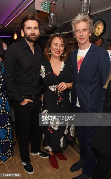 """David Tennant, Arabella Weir and Peter Capaldi attend the press night performance of """"The Last Temptation Of Boris Johnson"""" at The Park Theatre on..."""