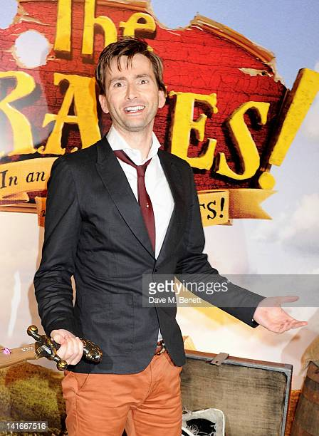 David Tennant arrives at the UK Premiere of 'The Pirates In An Adventure With Scientists' at The Mayfair Hotel on March 21 2012 in London England