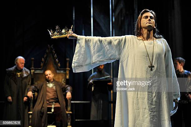 David Tennant as Richard II with Oliver Ford Davies as Duke of York and Nigel Lindsay as Bolingbroke in the Royal Shakespeare Company's production of...