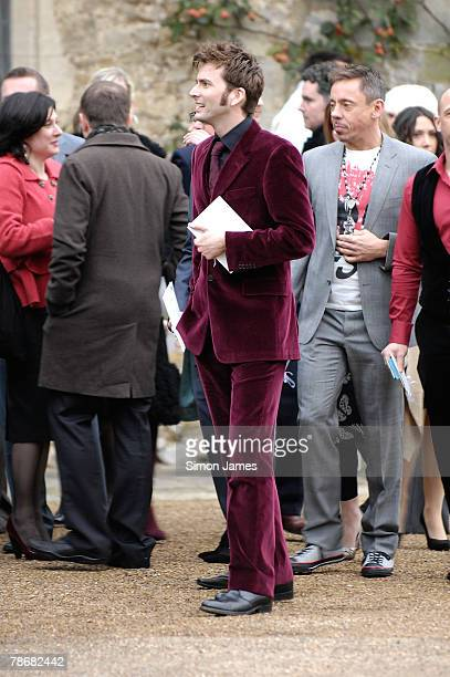 David Tennant leaves the wedding of Billie Piper and Laurence Fox at The Parish Church of St Mary on December 31, 2007 in Easebourne, West Sussex,...