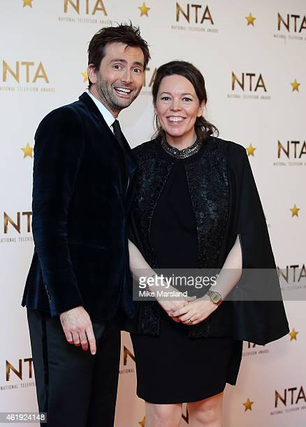 David Tennant Olivia Colman poses in the winners room at the National Television Awards at 02 Arena on January 21 2015 in London England