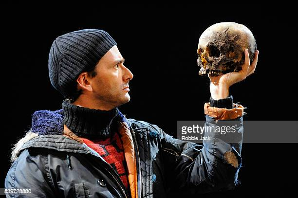 David Tennant performs in the Royal Shakespeare Company's production of William Shakespeare's play 'Hamlet ' directed by Gregory Doran at the...