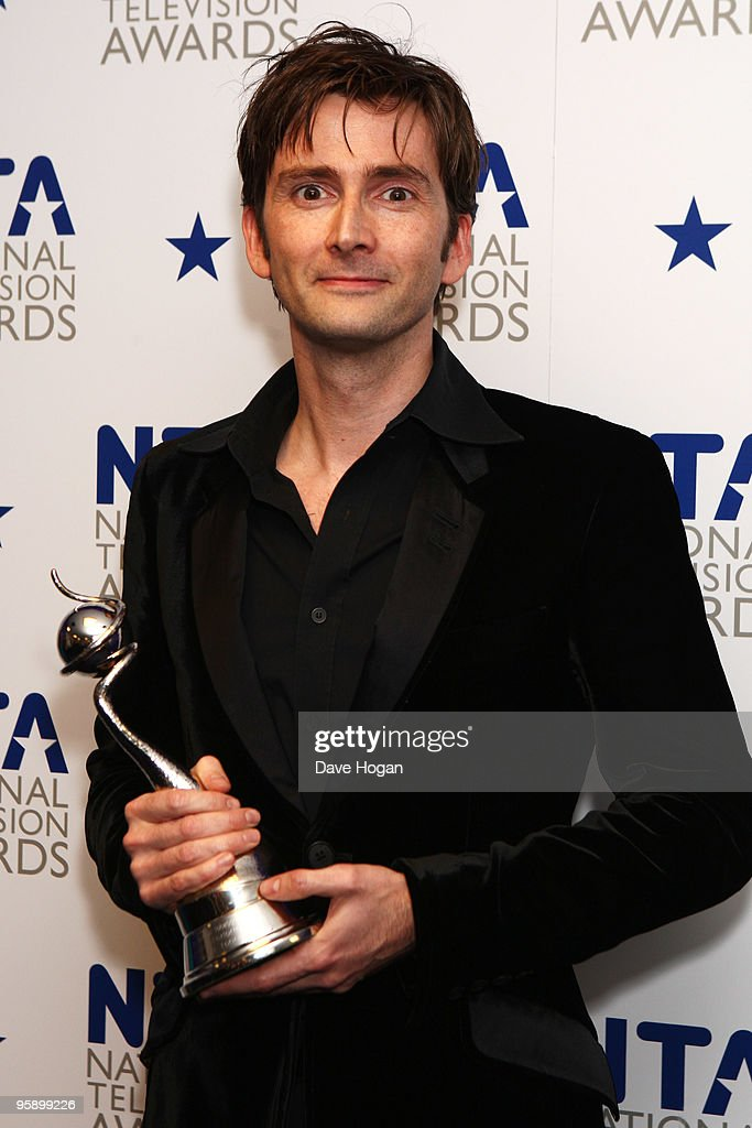 David Tennant poses with his award for outstanding drama performance presented by Sarah Brown in the press room at the National Television Awards held the at The O2 Arena on January 20, 2010 in London, England.