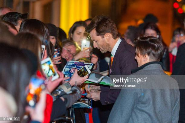 David Tennant signs autographs to fans at the European Premiere of 'You, Me and Him' during the 14th Glasgow Film Festival at Glasgow Film Theatre on...