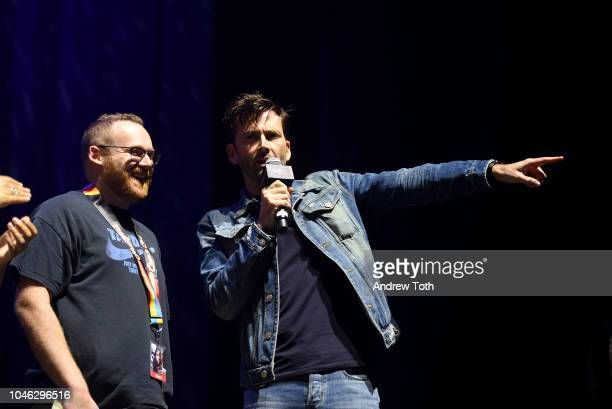 David Tennant speaks onstage at the Tardis Time panel during New York Comic Con 2018 at Hammerstein Ballroom on October 5 2018 in New York City