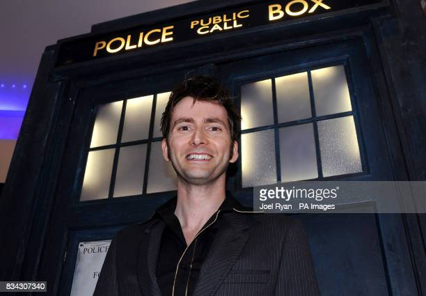 David Tennant stands infront of the Tardis after arriving for the Doctor Who Series 4 screening at the Apollo West End in central London