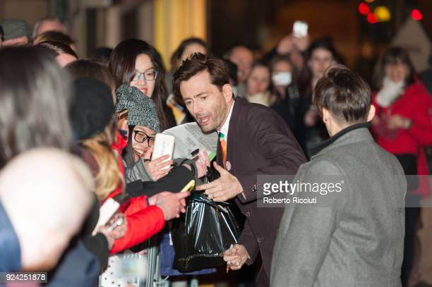 David Tennant takes a selfie with a fan at the European Premiere of 'You, Me and Him' during the 14th Glasgow Film Festival at Glasgow Film Theatre...