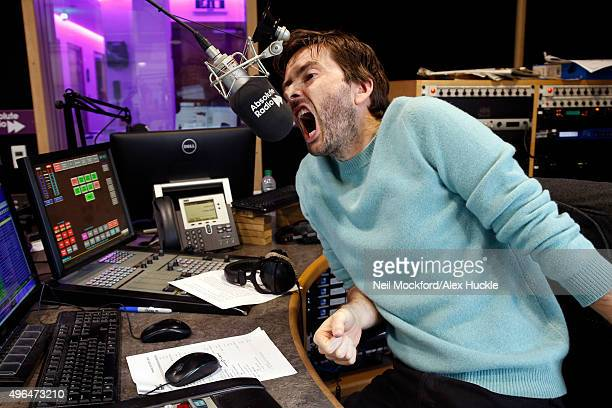 David Tennant visits Absolute Radio to cohost the breakfast show with Christian O'Connell on November 10 2015 in London England