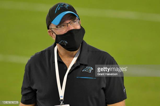 David Tepper, owner of the Carolina Panthers looks on against the Atlanta Falcons at Bank of America Stadium on October 29, 2020 in Charlotte, North...