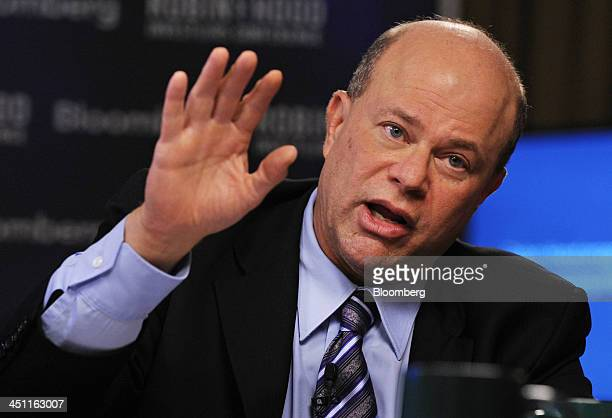 David Tepper president of Appaloosa Management LP speaks during television interview at the Robin Hood investors conference in New York on Thursday...