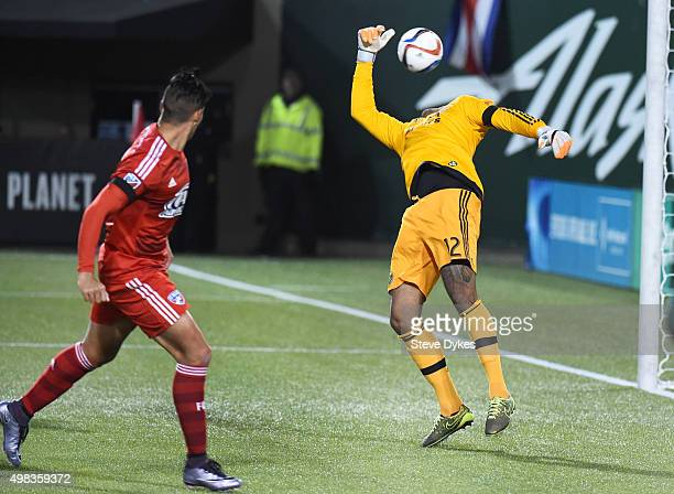 David Texeira of FC Dallas scores a goal on Adam Kwarasey of Portland Timbers during the second half of the match at Providence Park on November 22...