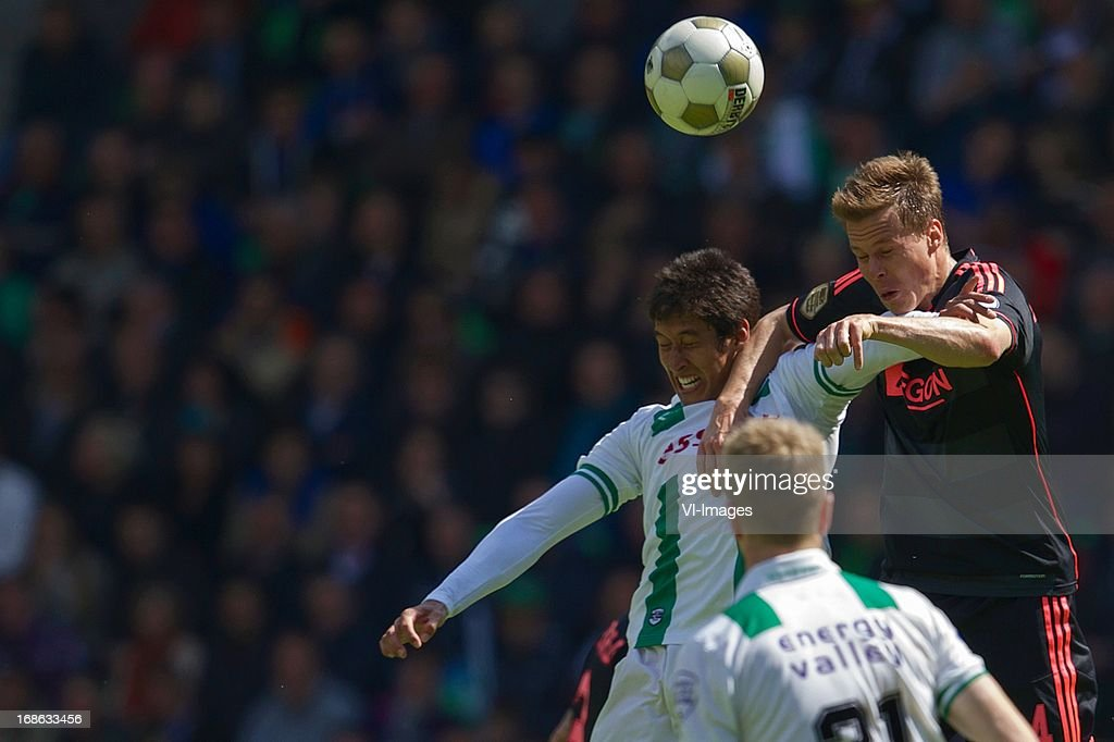 David Texeira of FC Groningen, Niklas Moisander of Ajax during the Dutch Eredivisie match between FC Groningen and Ajax on May 12, 2013 at the Euroborg stadium in Groningen, The Netherlands.