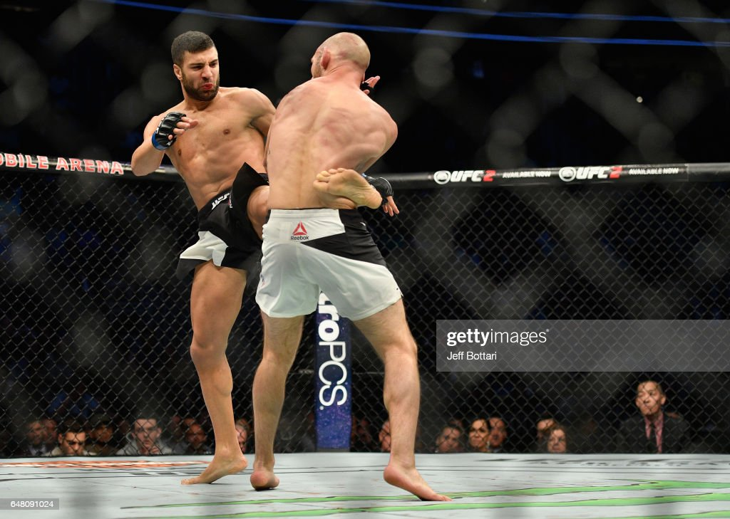 David Teymur of Sweden kicks Lando Vannata in their lightweight bout during the UFC 209 event at T-Mobile Arena on March 4, 2017 in Las Vegas, Nevada.