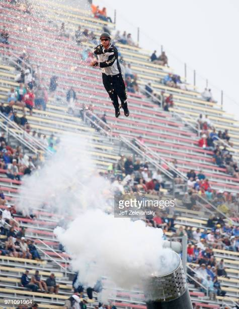David 'The Bullet' Smith is shot out of a cannon during prerace festivities for the Monster Energy NASCAR Cup Series FireKeepers Casino 400 at...