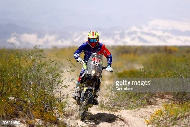 David Thomas of South Africa and HT Husqvarna Rally Raid rides a FR450 Rally Husqvarna bike in the Classe 21 Super Production during stage eleven of...