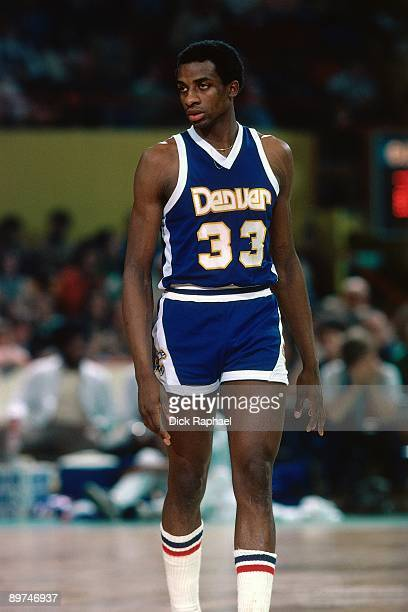 David Thompson of the Denver Nuggets looks on against the Boston Celtics during a game played in 1978 at the Boston Garden in Boston Massachusetts...