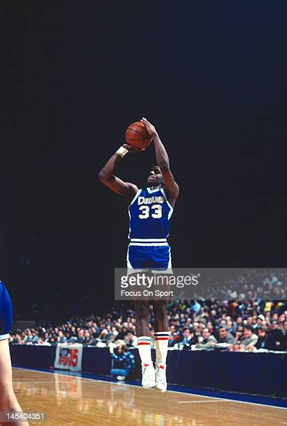David Thompson of the Denver Nuggets shoots against the Washington Bullets during an NBA basketball game circa 1977 at The Capital Centre in Landover...