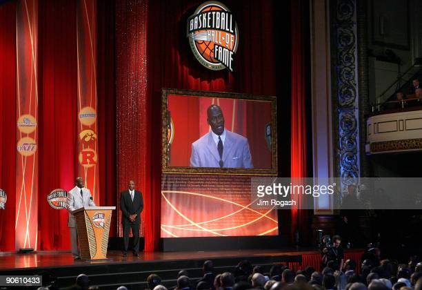 David Thompson presents Michael Jordan to the Naismith Memorial Basketball Hall of Fame during an induction ceremony on September 11 2009 in...