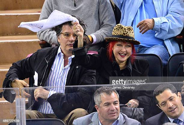 David Thornton and Cyndi Lauper attend the Pittsburgh Penguins vs New York Rangers at Madison Square Garden on May 11 2014 in New York City