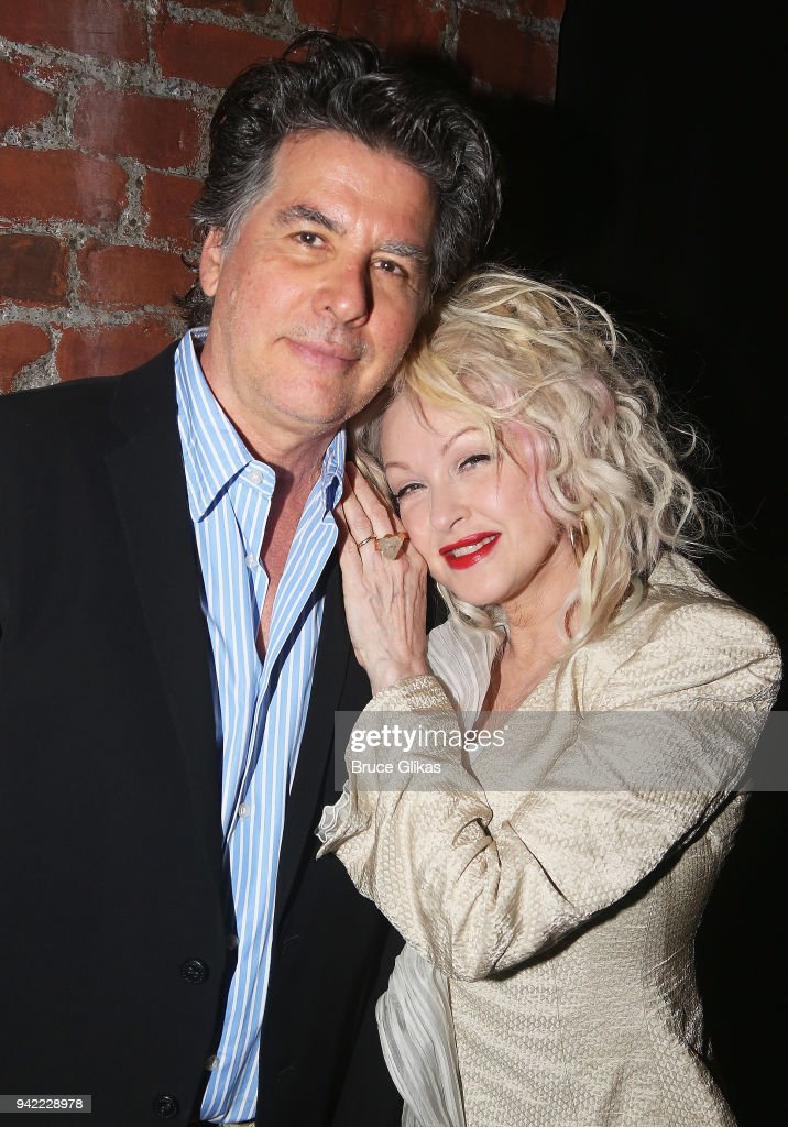 David Thornton and wife Cyndi Lauper pose backstage as the hit musical 'Kinky Boots' celebrates it's 5th Anniversary on Broadway at The Hirshfeld Theatre on April 4, 2018 in New York City.
