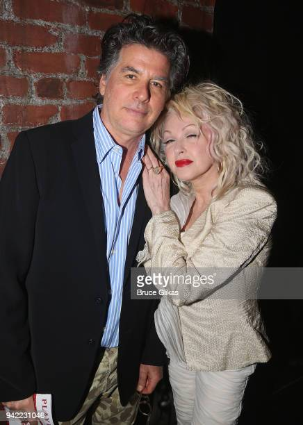 David Thornton and wife Cyndi Lauper pose backstage as the hit musical Kinky Boots celebrates it's 5th Anniversary on Broadway at The Hirshfeld...
