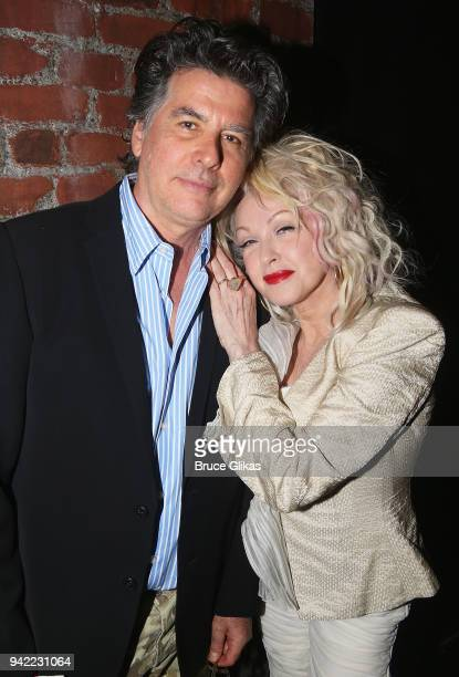 David Thornton and wife Cyndi Lauper pose backstage as the hit musical 'Kinky Boots' celebrates it's 5th Anniversary on Broadway at The Hirshfeld...