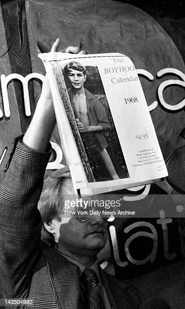 David Thorstad Founding member of NAMBLA North American Man/Boy Love Association shows a machine copy of what he says is a 1968 calender with photo...