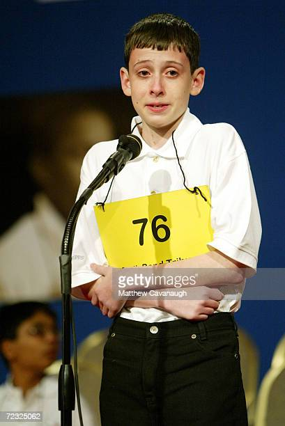 David Tidmarsh of South Bend Indiana looks to the officials table after spelling the word gaminerie correctly to advance to round 15 in the National...