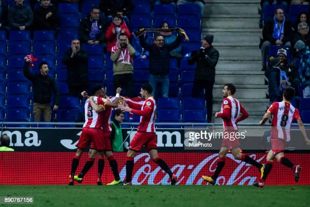 16 David Timor from Spain of Girona FC celebrating his goal with his team during the La Liga match between RCD Espanyol v Girona FC at RCD Stadium on...