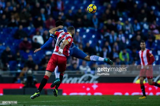 16 David Timor from Spain of Girona FC during the La Liga match between RCD Espanyol v Girona FC at RCD Stadium on December 11 2017 in Barcelona Spain